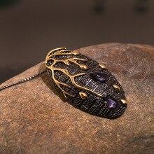 Señoras creativa vintage exagerados rama de árbol collar AAA circón púrpura de tungsteno de oro Oval colgante, collar de joyería