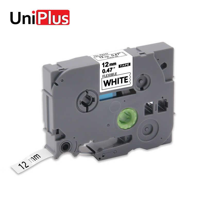 UniPlus FX231 TZe-FX231 ยืดหยุ่นเทปฉลากสำหรับเครื่องพิมพ์บราเดอร์P-Touch E100 สีดำบนสีขาว 12Mmป้ายmakerสติกเกอร์