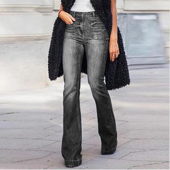 Damska sukienka w rozmiarze plus jednolity kolor dżinsy spodnie wysokiej talii dorywczo proste dżinsy z guzikami dżinsy kobiece dżinsy slim denim tanie i dobre opinie HMILY Poliester Pełnej długości 62H5 Wysoka Zipper fly Hip Hop Zmiękczania Spodnie pochodni REGULAR Medium Kieszenie