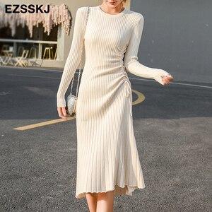 2020 autumn winter A-LINE sweater dress elegant knit Drawstring dress women slim midi dress Female chic knit elegant dress