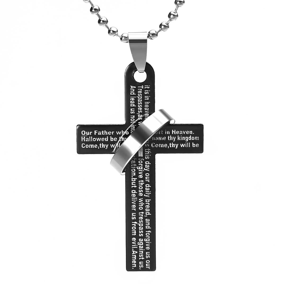 Vintage Cross Pendant Necklace Men Women Stainless Steel Long Chain Necklace Ethnic Prayer Scripture Cross Pendant Retro Jewelry