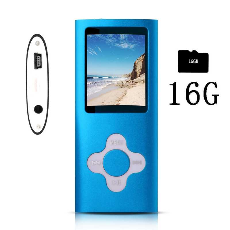 FFYY-مشغل Mp3/Mp4 أنيق مع بطاقة مايكرو Sd 16Gb ، ودعم عارض الصور ، منفذ Usb صغير 1.8 Lcd ، مشغل موسيقى رقمي ، تشغيل الوسائط