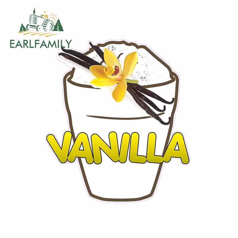 EARLFAMILY 13cm x 11.5cm for Vanilla Ice Cream Food Funny Car Stickers JDM Trunk RV VAN Car Accessories Vinyl Graphics Sign Logo image