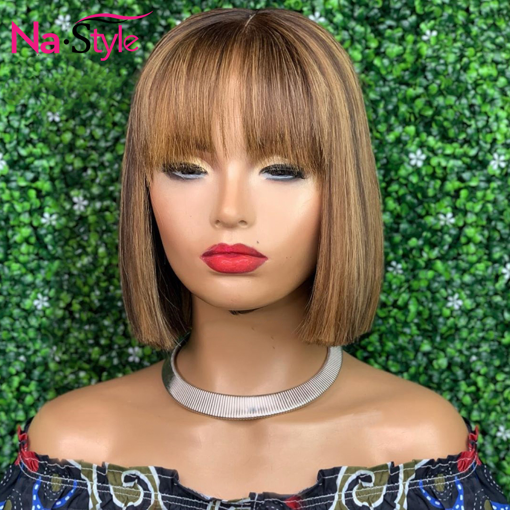 13x6 Blonde Lace Front Wig With Bangs Human Hair Colored Short Human Hair Wigs Pre Plucked Glueless Pixie Cut Wig Remy 150%