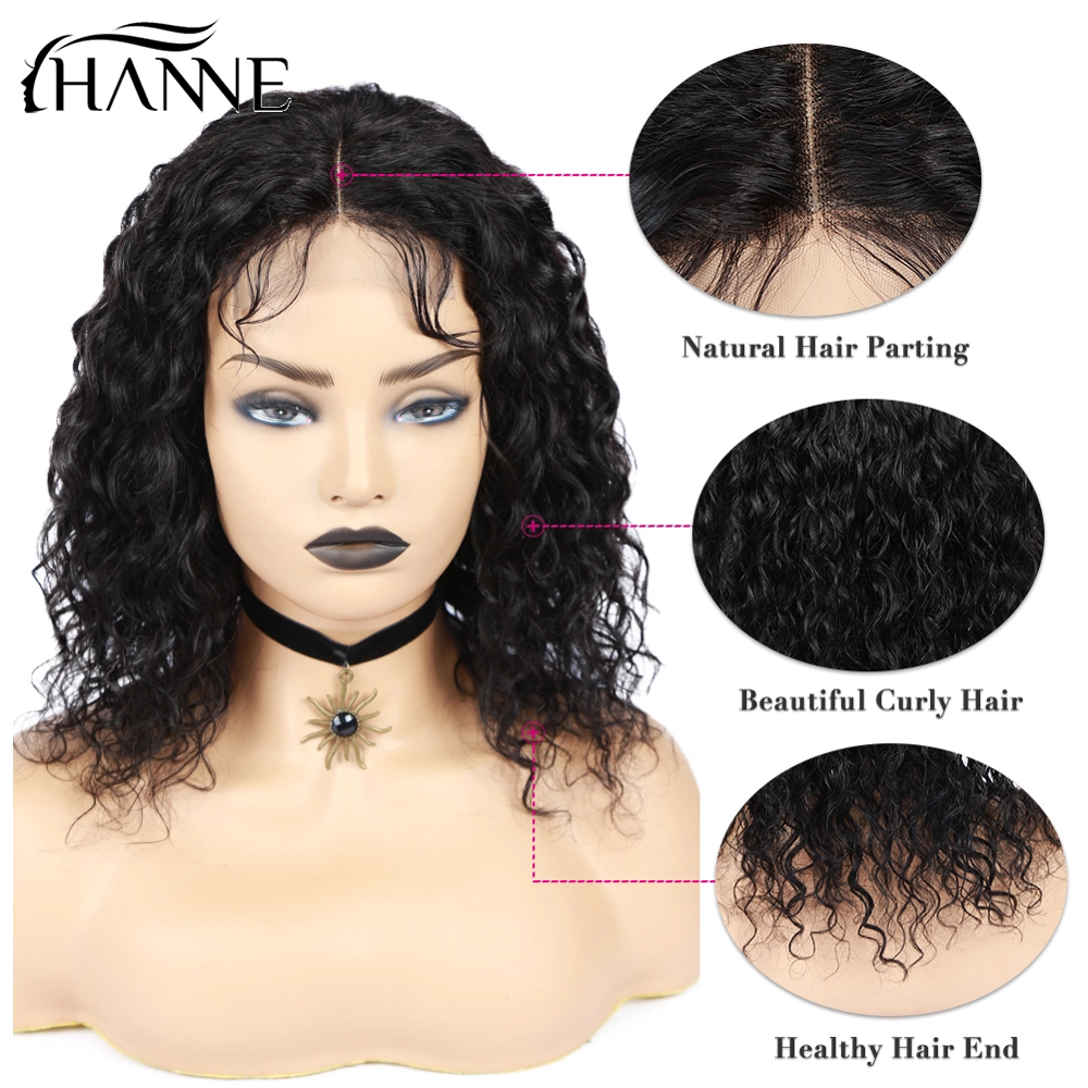 4*4 Lace Closure Human Hair Wigs Short Water Wave 8-20Inches Brazilian Wig Gulessness Closure Wigs Brazilian Remy Hair Wig HANNE