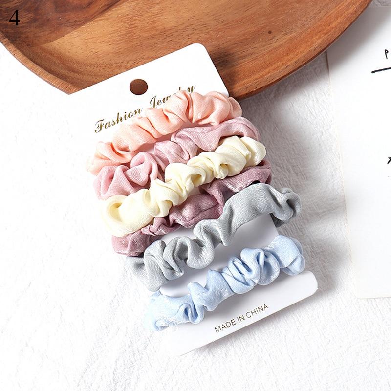 1 комплект резинки для волос кольцо для волос карамельного цвета Веревка для волос осень-зима женский хвостик аксессуары для волос 4-6 шт. ободки для девочек Подарки - Color: 4