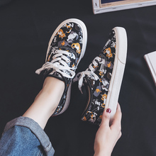 2019 Shoes Women Spring Summer New Canvas Girls Students Graffiti Kitty Cartoon Cat Korean Edition Ins Style White