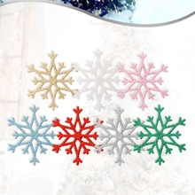 10PCS Glittering Plastic Snowflake Christmas Ornaments Xmas Tree Wreath Garland Hanging Pendants Winter Party Holiday Decoration