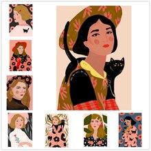 Модная красочная Картина на холсте с изображением девушки и