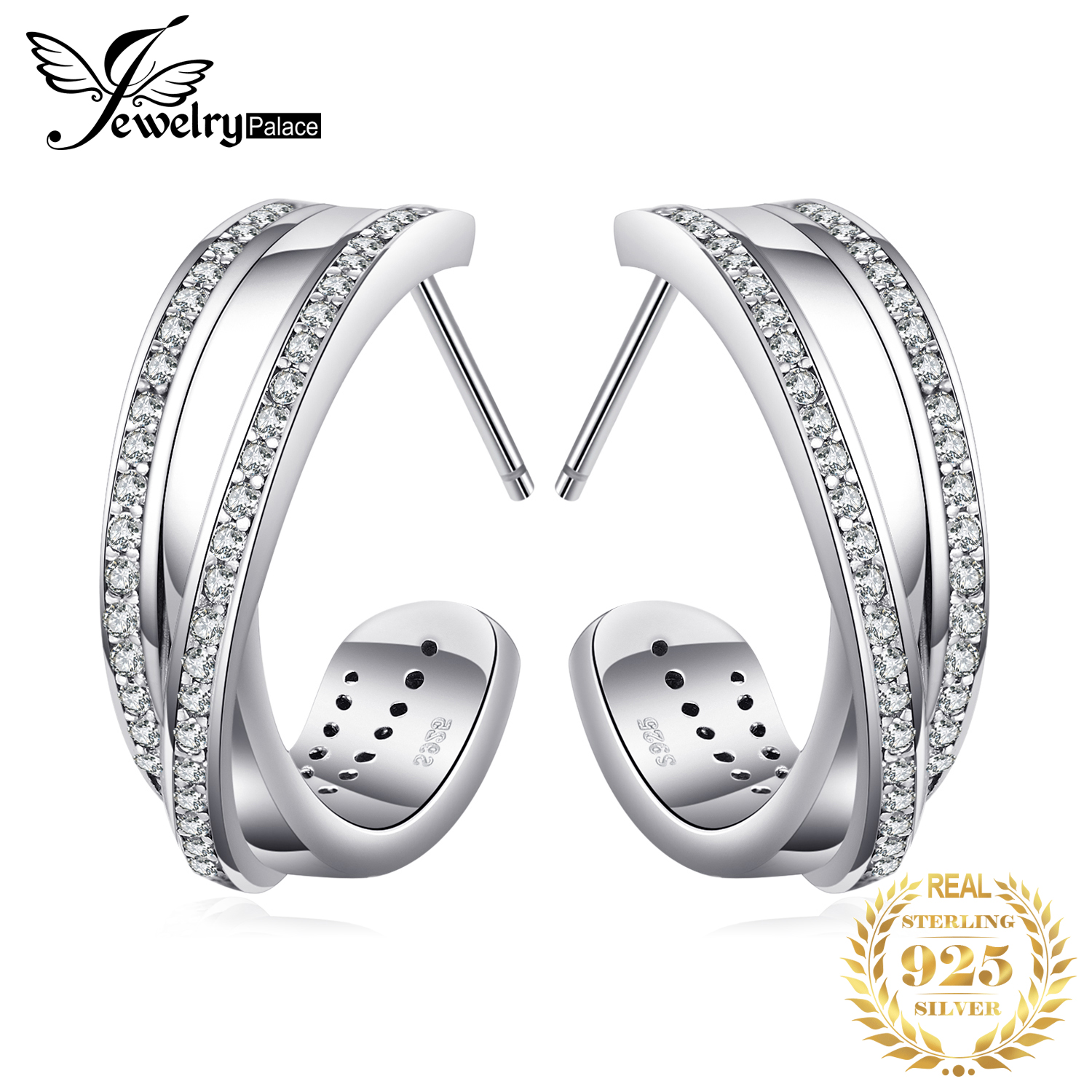 Jewelrypalace 925 Sterling Silver Eternity Intervened Lines Open Wind Jewelry For Women On Sale Stud Earrings