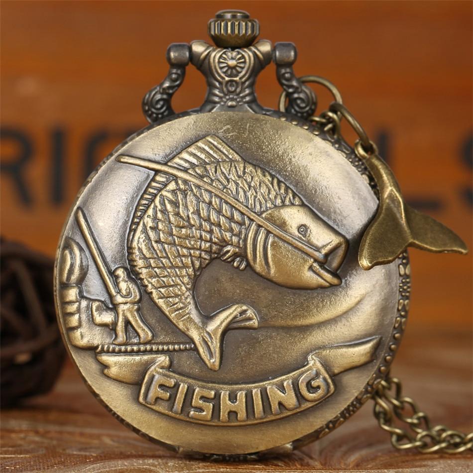 Bronze Big Fish Design Necklace Pocket Watch Retro Quartz Pocket Clock Fish Tail Pendant Antique Watches Gifts For Men Women