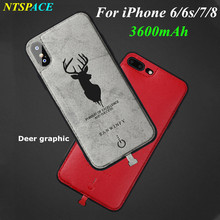 NTSPACE Deer graphic Portable Power Bank Cover For iPhone 6/6S/7/8 Battery Charger Case 3600mAh External Backup Power Case