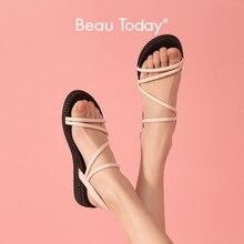 BeauToday 플랫폼 샌들 여성 양피 정품 가죽 검투사 슬링 백 크리스탈 세부 레이디 여름 웨지 힐 신발 32117