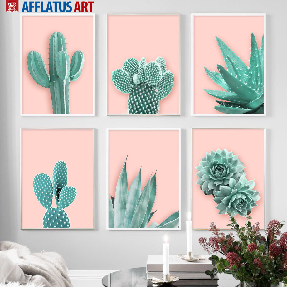 Pink Cactus Aloe Succulent Plants Leaves Wall Art Canvas Painting Nordic Posters And Prints Pictures For Living Room Decor