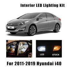 16 pces branco canbus acessórios do carro led kit de luz interior para hyundai i40 2011-2019 mapa dome leitura telhado lâmpada da placa de licença
