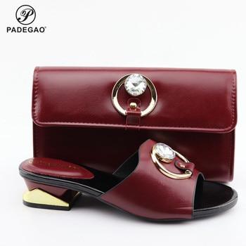 Lo último en zapatos y bolsos de color rojo vino, conjunto africano 2020, zapatos nigerianos y bolsos a juego, zapatos italianos de boda con diamantes de imitación para mujer