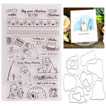 Christmas Bear Stamps and Dies 2020 New Clear Stamp with Metal Cutting Die Scrapbooking for DIY Handmade Paper Card Craft Tools