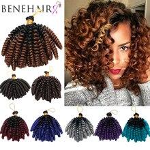 BENEHAIR Ombre Jumpy Wand Curly Crochet Hair Braids Jamaican