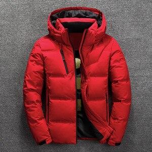 Image 2 - 2019 חורף מעיל גברים באיכות גבוהה תרמית עבה מעיל שלג אדום שחור Parka זכר חם להאריך ימים יותר גברים אופנה לבן ברווז למטה מעיל