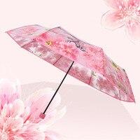 Ombrello femminile trasparente Non automatico Sakura tre pieghevole carino Kawaii Mini ombrello per bambini pioggia donna antivento Paraguas