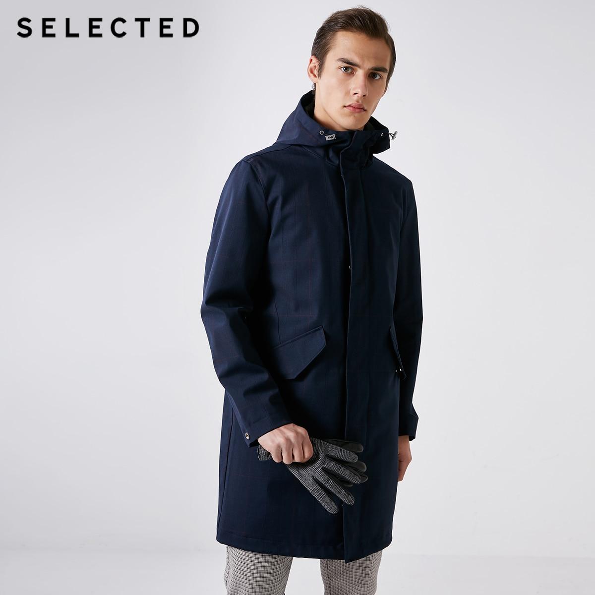 SELECTED Men's Spring Dark Plaid Mid-length Hooded Trench Coat S|4191OM511