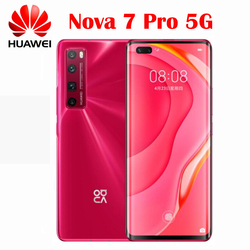 Téléphone portable d'origine Huawei Nova 7 Pro 5G Kirin 985 SOC 4000mAh 64MP caméra principale NFC 10V4A chargeur 6.57 ''2340x1080P écran OLED