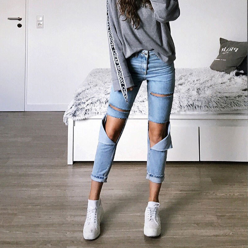 2020 Spring And Summer High Waist Loose Straight Jeans Women Denim Pants Knee Holes Washed Street Style Ripped Jeans For Women