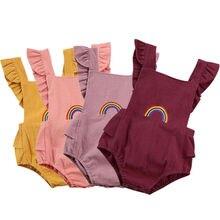 Для младенцев, для новорожденных, для маленьких девочек, без рукавов, с буффами на рукавах с радужным принтом, боди, комбинезон, одежда для подвижных игр, летняя одежда для мальчиков милый Одна деталь