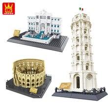 WANGE-torre inclinada de pié para construcción de edificios, torre de pié para Italia, bloques de construcción, juguete de ladrillos