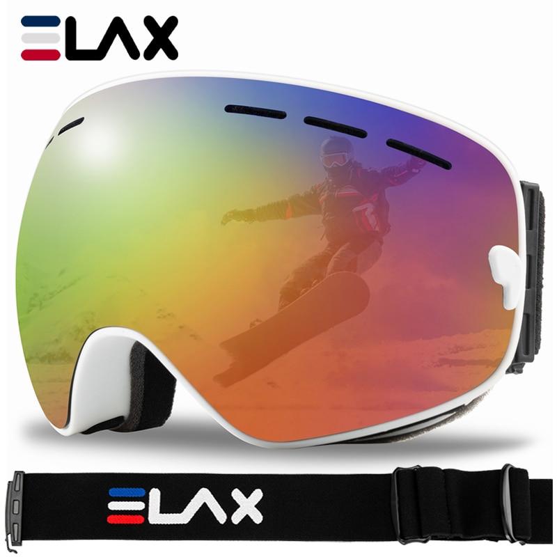 Двухслойные антизапотевающие лыжные очки ELAX 2019, лыжные очки для катания на лыжах и сноуборде, лыжные очки Google, маска для снега на снегоходе