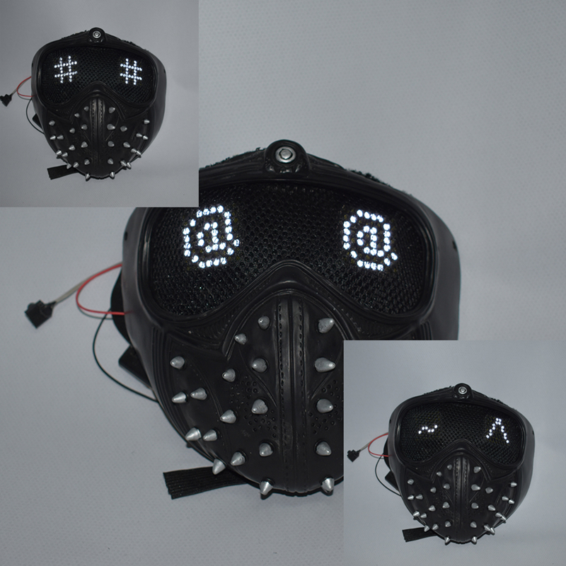 Game Watch Dogs 2 Marcus Wrench Cosplay PVC Mask Changeable Expression LED Masks