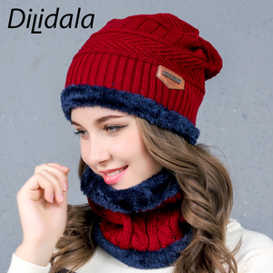 Image 4 - Dilidala Autumn Winter Knitted Hat For Women Warm Collar Sets Two Sets Outdoor Plush Wool Hat Unisex Wild Winter Hat