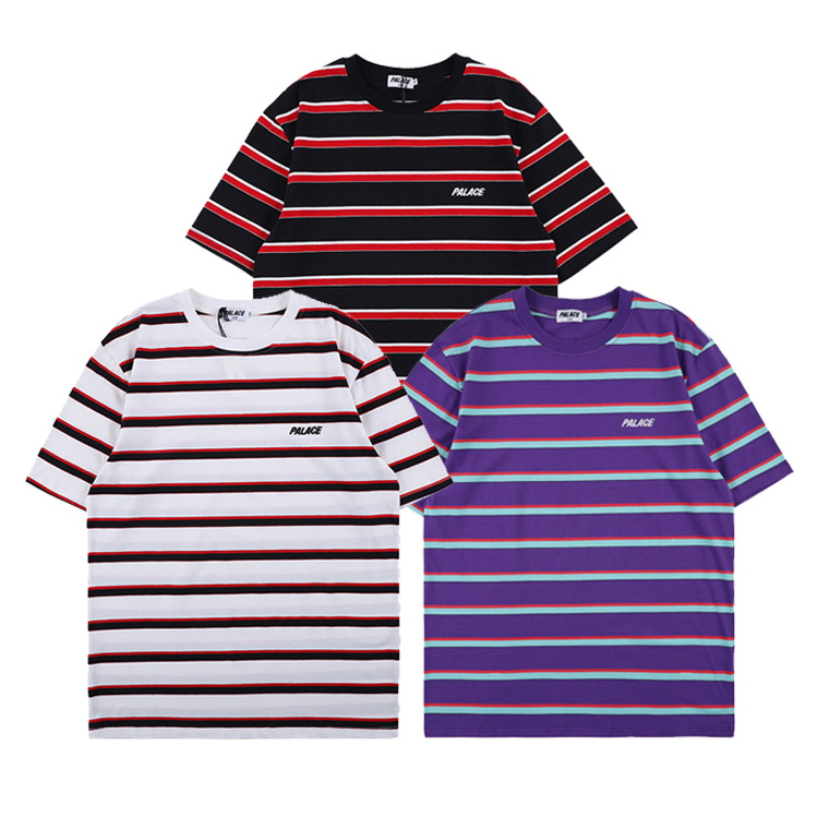 Palace Life2019 Europe And America Popular Brand Summer New Style Stripes Creative Pure Cotton Short Sleeve Leisure T-shirt Men