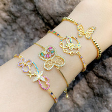 Gold Butterfly Bracelets For Women Multicolor Adjustable Love Letter Charm Bracelet CZ Rainbow Zirconia Jewelry Gifts brtc20 gold letter bracelet women charm friendship bracelets luxury jewelry adjustable best friend personalized wholesale