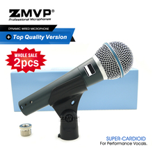 2pcs Grade A Professional BETA Dynamic Wired Microphone BETA58A Super Cardioid 58A Mic For Performance Live Vocals Karaoke Stage