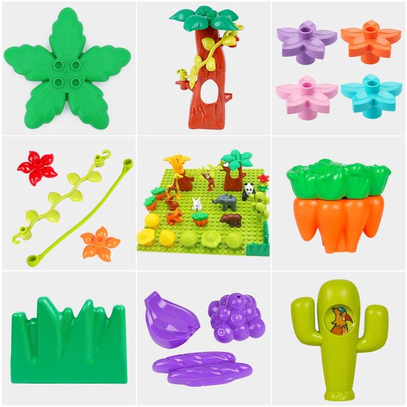 Big Particles Building Blocks Accessories Compatible Duplos Farm Assemble Bricks Tree Stump Grass Flower Figure Toys Gift