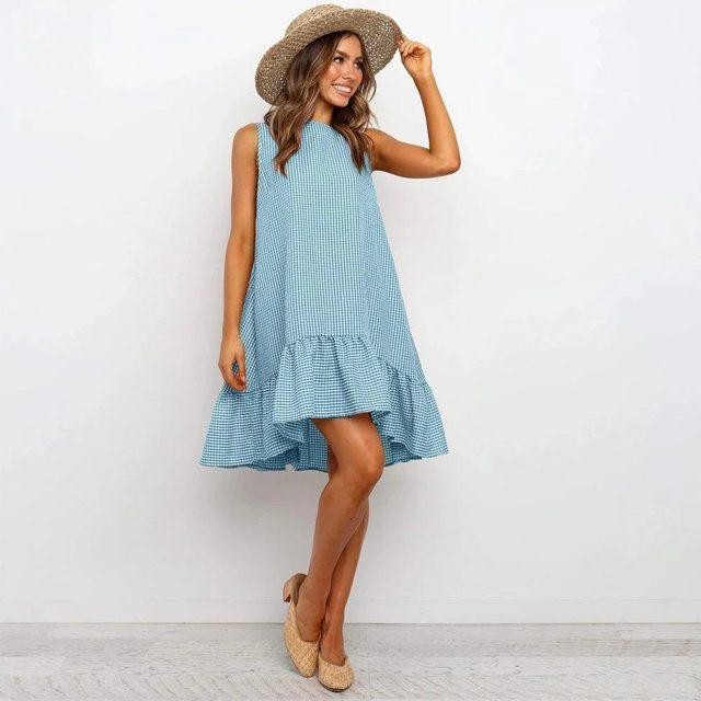 Фото женское пляжное платье в стиле бохо свободный сарафан клетку цена