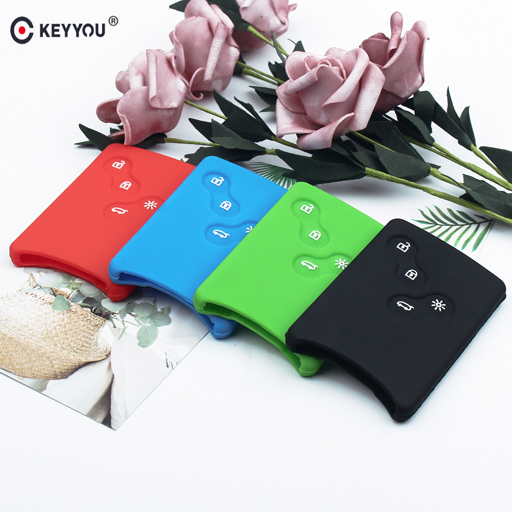 KEYYOU 4 Button Car Key Silicone Cover Protector Holder For Renault Clio Logan Megane 2 3 Koleos Scenic Card Keychain Case
