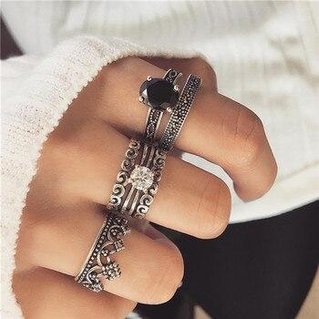 15 Pcs/set Women Fashion Rings Hearts Fatima Hands Virgin Mary Cross Leaf Hollow Geometric Crystal Ring Set Wedding Jewelry 13