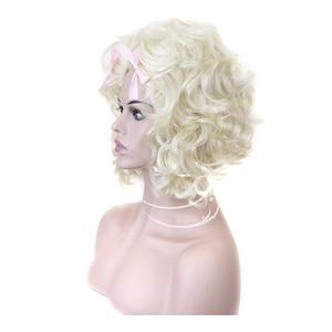 Image 2 - شعر مستعار الاصطناعية الشعر الأبيض شقراء ماري أنطوانيت الأميرة الباروكة لعيد الهالوين زي