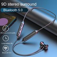 BT95-auriculares inalámbricos con Bluetooth 5,0, dispositivo deportivo magnético para correr, resistente al agua, con reducción de ruido, para IOS