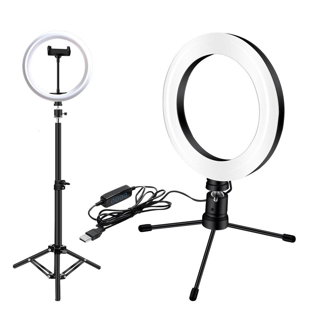 26cm/18cm LED dolgu ışık halkası ışık 3 modları kısılabilir LED kamera selfi ışığı ışık halkası için telefon tripodu 0.6M standı USB fişi