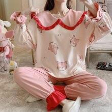 Женские пижамы свободные версия col Клодин хлопок размера плюс