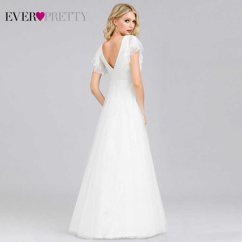 אי פעם די פשוט Boho חתונה שמלות אונליין כפול V-צוואר רקמת תחרה אלגנטית הכלה כותנות Gelinlik Vestido דה Noiva 2019