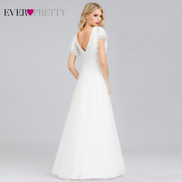 Simple  Wedding Dresses A-Line Double V-Neck Embroidery Elegant Lace Bride Gowns
