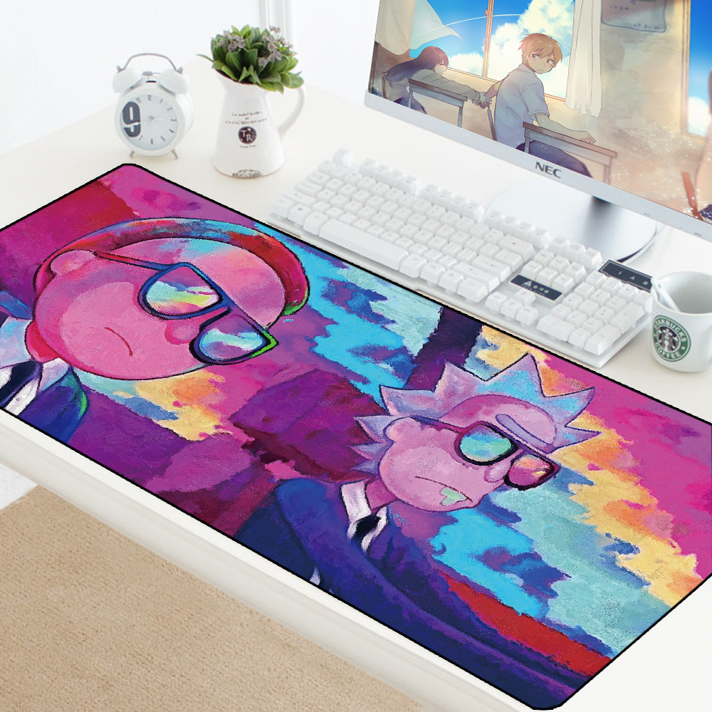 XXL Mouse Pad <font><b>900x400</b></font> Rick And Morty Anime Mousepad Custom DIY Gaming Large Locking Edge Speed Mousepad Rubber Computer Desk Mat image
