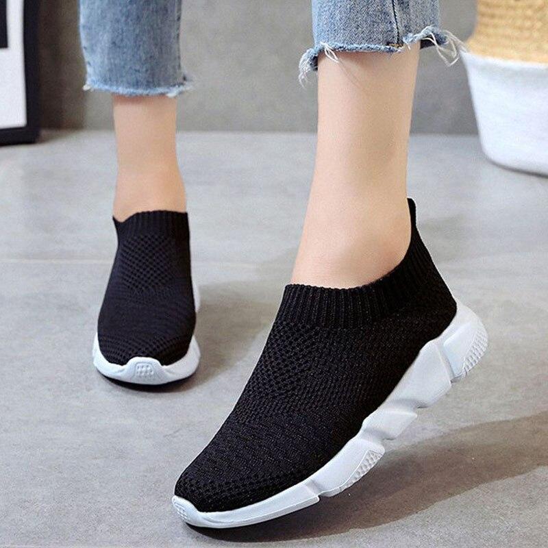 Women's Shoes sports shoes Light Weight Sock Sneaker Women White Black Sneakers Slip On Comfortable Brand Summer Footwear
