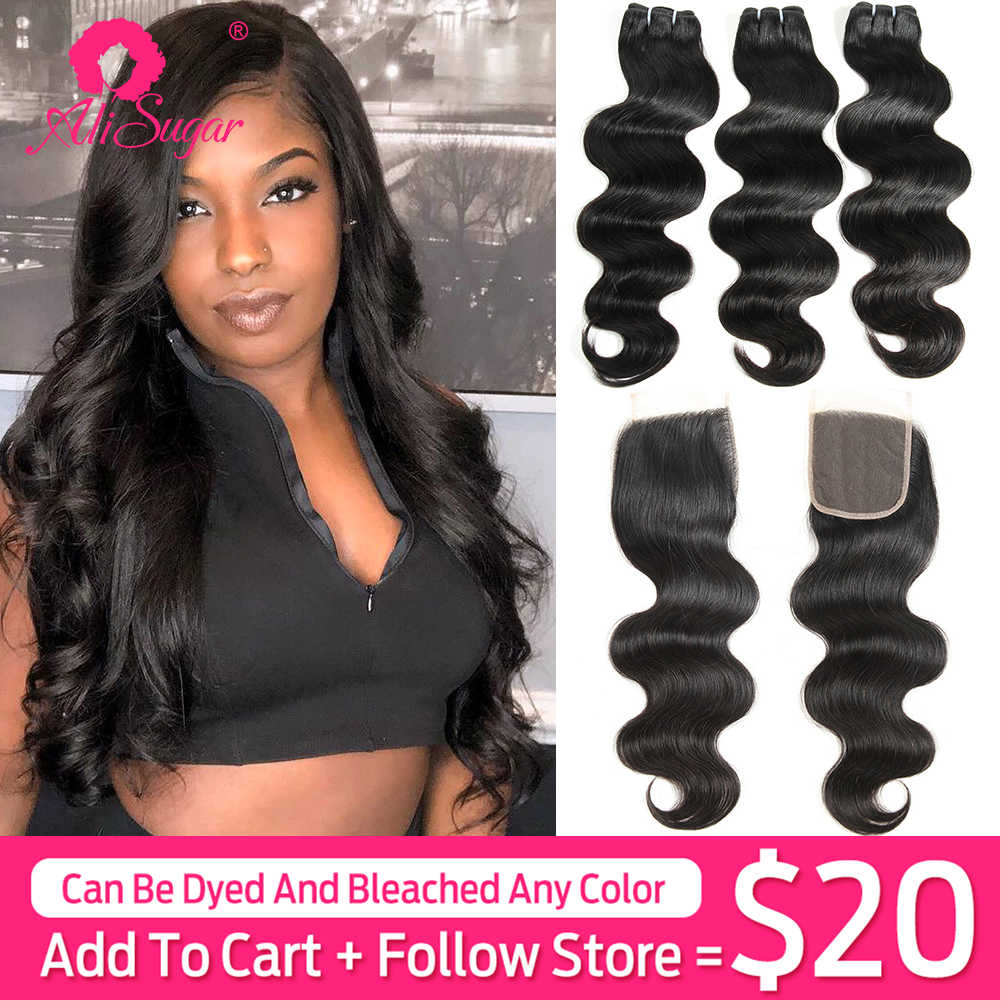 Ali Sugar Virgin Hair Peruvian Body Wave 3 Bundles With Closure 4*4 Lace 100% Unprocessed Raw Human Hair Extensions