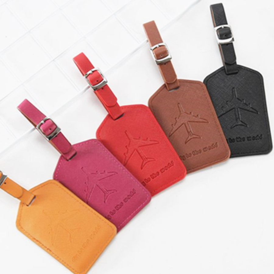 Jiexi Aircraft Leather Suitcase Luggage Tag Label Bag Pendant Handbag Travel Accessories Name ID Address Tags LT13