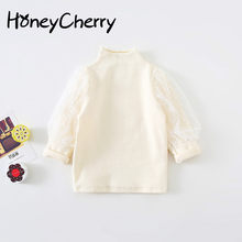 Autumn Girls T Shirt new girls lantern sleeves lace sweater bottoming shirt children's wild knit tops Toddler Girl Tops(China)